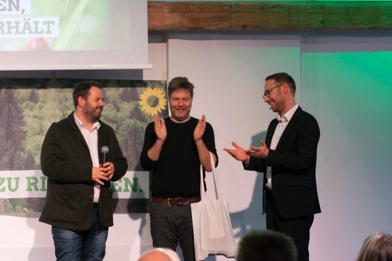Robert Habeck, Landratskandidat Jan Halbauer und Bürgermeisterkandidat für Olching Michael Maier