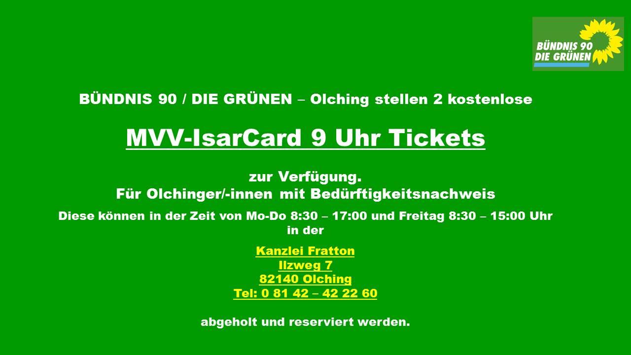 ISARCARD 9 Uhr Ticket - Sozialticket Ausleihbar über GRÜNE Olching